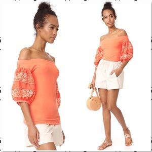Free People Rock With It Shoulder Puff Sleeve Top